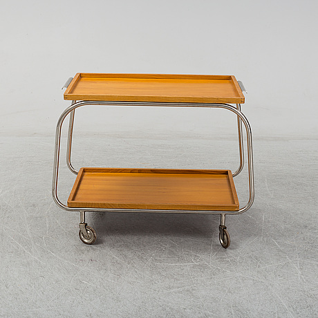 An elm and tubular steel drinks trolley, 1930's.