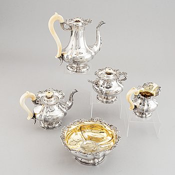 A Russian parcel-gilt silver tea- and coffee-set, marked in Moscow 1845, unidentified makers mark.