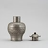 A pewter tea caddy with cover, late qing dynasty, circa 1900.