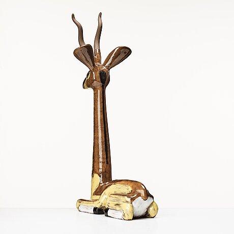Vicke lindstrand, a glazed ceramic figure of a gazelle, upsala-ekeby, 1948-60.