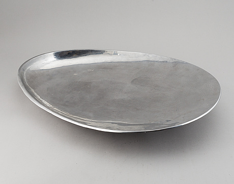 Matthew hilton, a chromed steel dish, signed matthew hilton.
