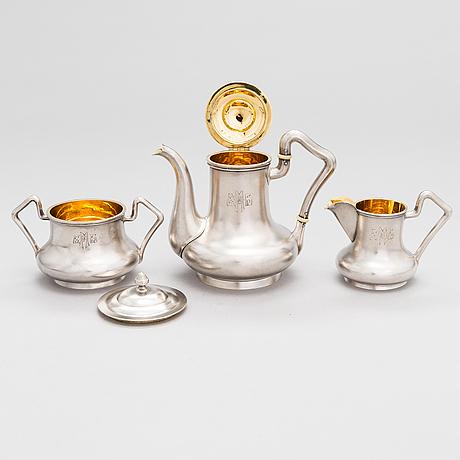 A 4-piece silver tea set, maker's mark of gerasim mitrofanov, moscow 1908-1917. assay master ivan sergeyevich lebedkin.