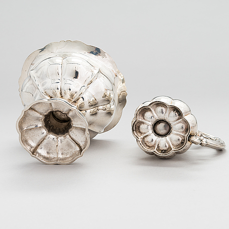 A 19th-century silver sugar bowl and cream jug, pori, finland 1864 och 1870.