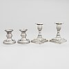 Two pairs of silver candlesticks, england 1889 and finland 1975.