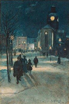 509. Carl Hedelin, Evening scene from Kungsträdgården in the heart of Stockholm.