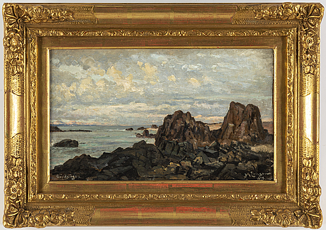 Johan ericson, oil och canvas, laid on paper panel, signed and dated 1878.