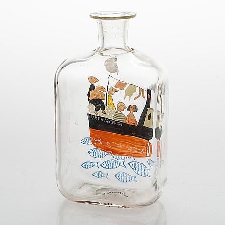 Tapio wirkkala, liquor bottle, glass, signed t.w. iittala -47.