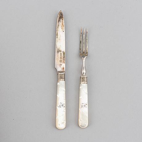Bestick, 24 delar, silver och pärlemor, sheffield 1903.