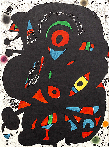 Joan mirÓ, a signed and numbered colour lithograph.