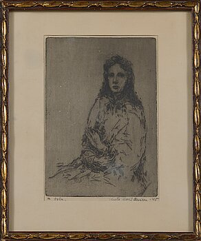 Unto Koistinen, etching, signed and dated -45, marked tpla.