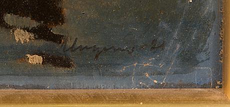 Ragnar ungern, olja på skiva, signerad och daterad -21.