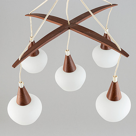 A teak and glass ceiling lamp. 1960's.