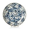 A blue and white dish, ming dynasty, wanli (1572-1620).