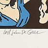 Carl johan de geer, lithograph in colours, signed 140/290.