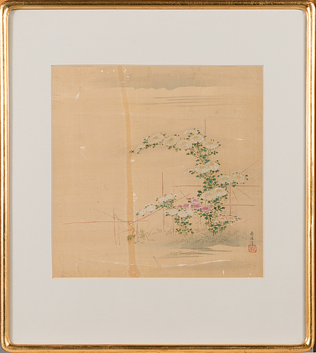 A japanese silk painting, late 19th century.