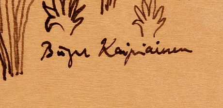 Birger kaipiainen, drawing, black ink on plywood, signed.