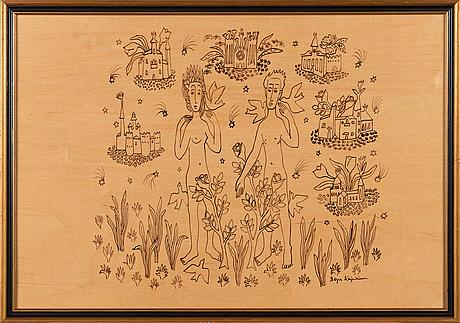 Birger kaipiainen, piirros, musta tussi plywoodille, signeerattu.