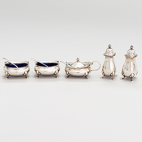 An 8-piece sterling silver spice set, the alexander clark co ltd, birmingham 1937.