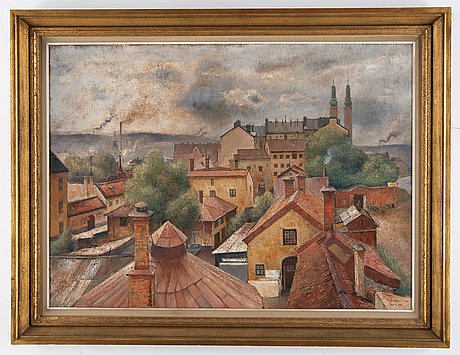 Åke nothberg, oil on panel, signed and dated 1939 (replica 1950).