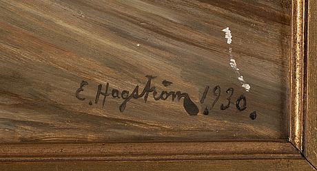Emil hagström, olja på pannå, signerad och daterad 1930.