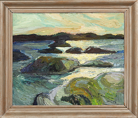 Gunnar jonn, oil on panel, signed and dated -52.