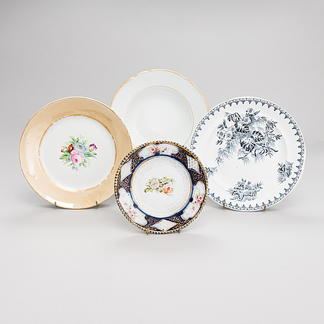 Russian porcelain dishes, totally 7, kuznetsov and kornilov, russia 1861 - 1917.