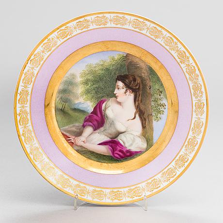 A porcelain plate, imperial porcelain factory, saint petersburg, period nicholas i (1825-55).