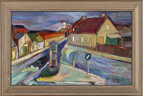 Gunnar jonn, oil on panel, signed and dated -58.