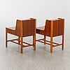 A pair of 1960:s mahogny nk (nordiska kompaniet) side tables.
