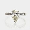 Ring 18k whitegold 1 pear-shape  diamond approx 2,20 ct approx h-i vs and 2 baguettes approx 0,40 ct, j sandin göteborg.