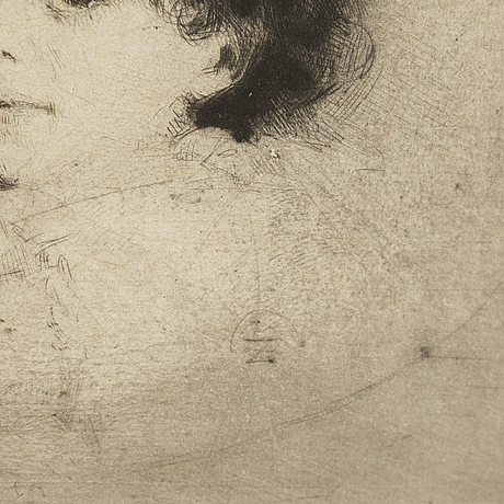 Anders zorn, etching, 1882, signed in plate.