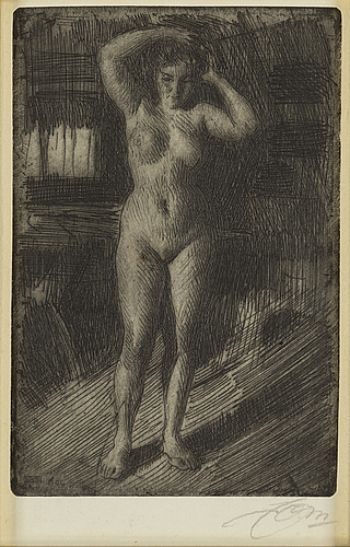 Anders zorn, etching, 1906, signed in pencil.