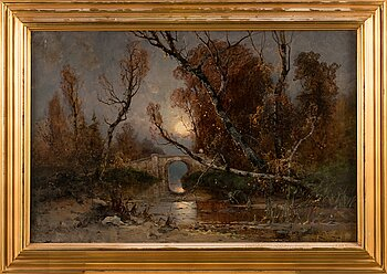 Julius von Klever, Bridge in autumn landscape.