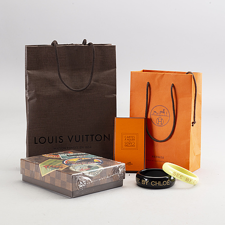 See by chloÉ, two bangles. hermés knotting card, oecan liner labels limited edition louis vuitton.