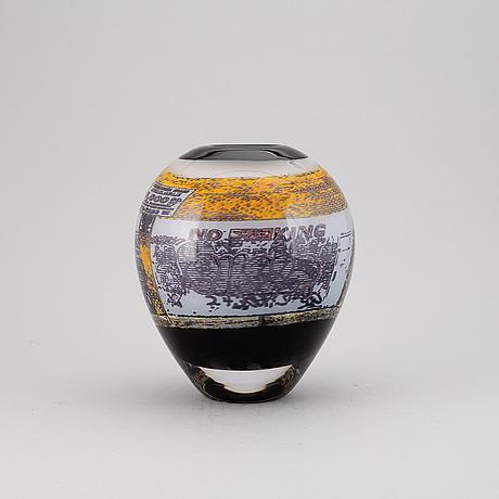 Olle brozÉn, a glass vase, signed, prov.