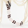 A sweet water, rose quartz, garnet and wood pearls collier with a tiffany & co silver ring designed by elsa peretti.