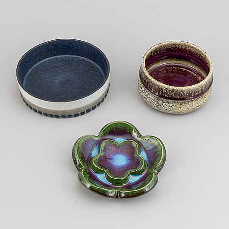 Sylvia leuchovius, four ceramic dishes and bowls, rörstrand.