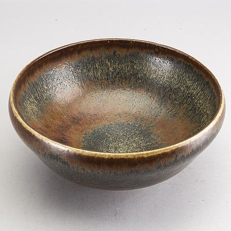 Carl-harry stÅlhane, a stoneware bowl, unique, rörstrand, 1964.