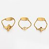 """Louis vuitton, three """"blooming strass"""" rings. marked louis vuitton paris, made in germany."""
