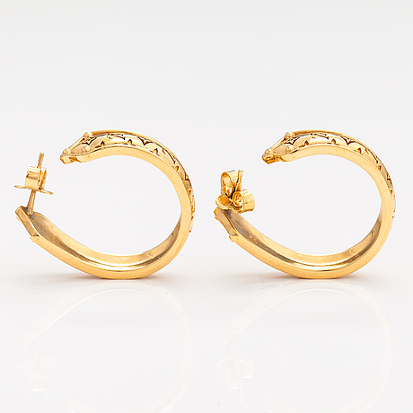 "Louis vuitton,  ""nanogram sweet dreams hoop"" earrings. marked italy."