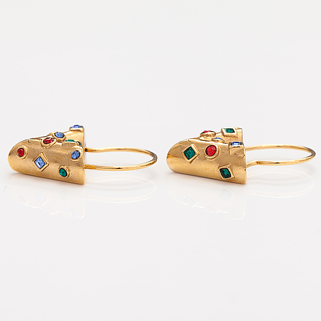 "Louis vuitton, ""essential v planète"" hoop earrings. marked italy."