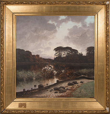 """Oscar herschend, oil on canvas, signed and dated-88. marked """"silkeborg""""."""