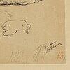 Ilja jefimovitj repin, a pencil drawing, signed och numbered 13, dated 1886.