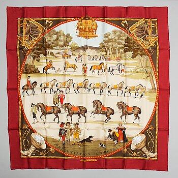 HERMÈS, a 'Presentation des Chevaux' silk scarf.