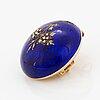 Brosch/hänge, himmelsblå emalj med rosenslipade diamanter. 1800-tal.