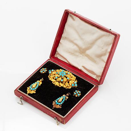 Garnityr, brosch samt örhängen, guld med turkoser. empire.