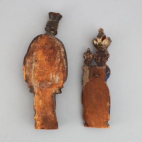 Sculptures, 2, wood, 18/19th century.