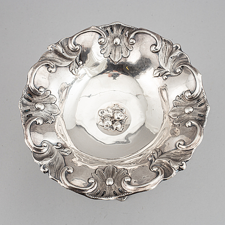 A swedish mid 19th century silver bowl, mark of carl nystrom, stockholm 1854-1855.