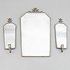 Spegel samt spegellampetter, tenn, 1930-tal.