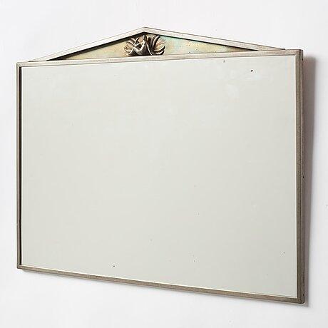 Nils fougstedt, a swedish grace pewter framed wall mirror, model 137, firma svenskt tenn, stockholm 1925.